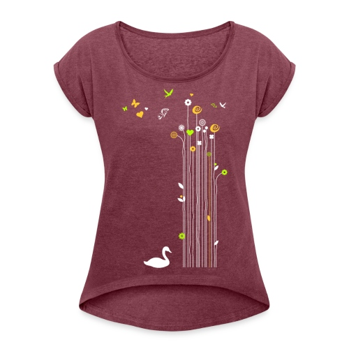 Frühling Schwan Blüten Schmetterlinge Valentinstag - Women's T-Shirt with rolled up sleeves
