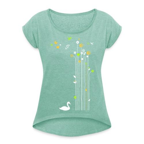 Frühling Schwan Blüten Schmetterlinge Valentinstag - Women's T-Shirt with rolled up sleeves