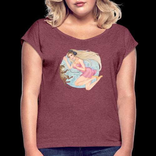 Linneafly - T-skjorte med rulleermer for kvinner