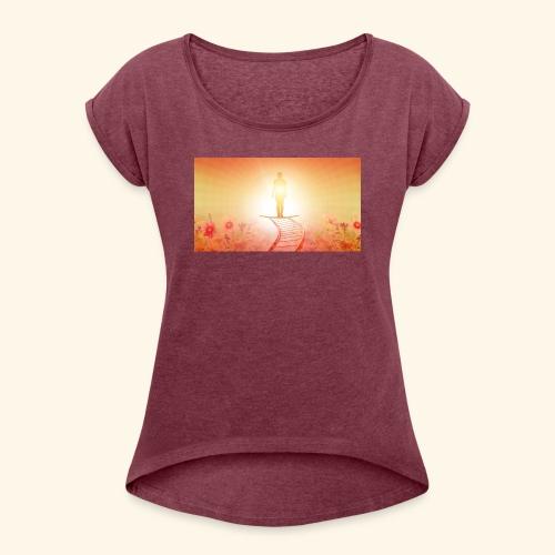 Jenseits aller Grenzen - Frauen T-Shirt mit gerollten Ärmeln