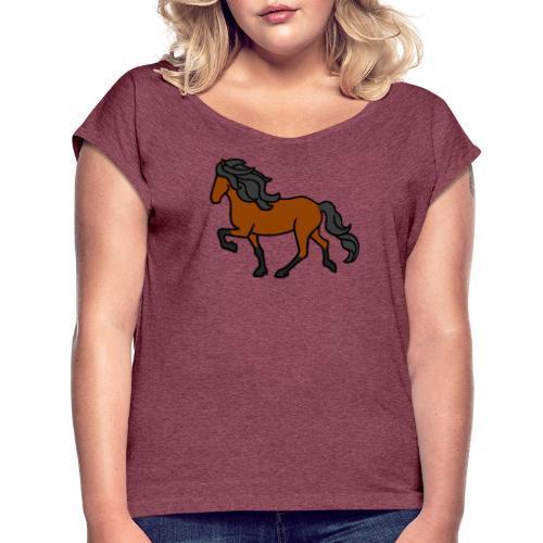 Islandpferd, Brauner, heller - Frauen T-Shirt mit gerollten Ärmeln