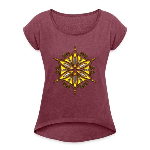 Aphrodite Amulett - Blume des Lebens - Frauen T-Shirt mit gerollten Ärmeln