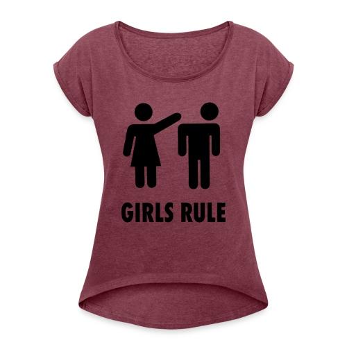 Frauen Macht - Frauen T-Shirt mit gerollten Ärmeln