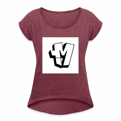 graffiti alphabet m - Women's T-Shirt with rolled up sleeves