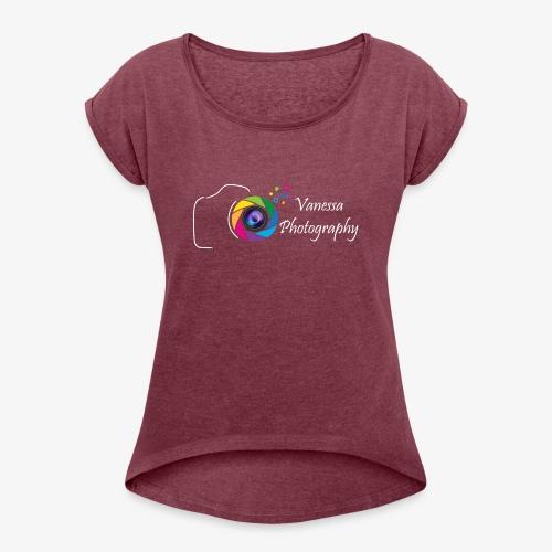 Vanessa Photography Color White - T-shirt à manches retroussées Femme