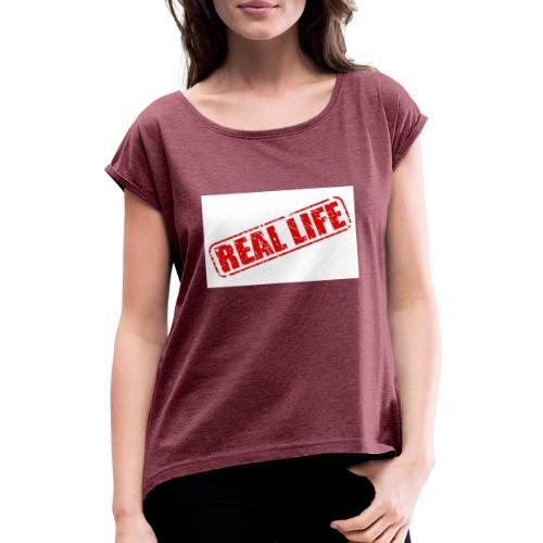 Reallife - Frauen T-Shirt mit gerollten Ärmeln