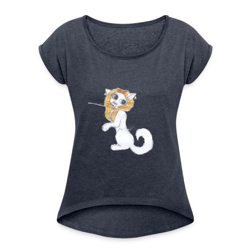Comic Katze - Frauen T-Shirt mit gerollten Ärmeln