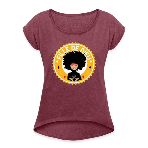 fillededieujaune - T-shirt à manches retroussées Femme