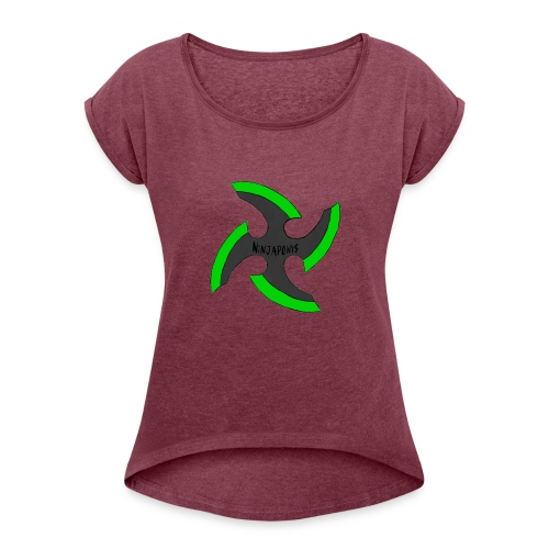 black-ronin-throwing-star-jpg_1 - Women's T-Shirt with rolled up sleeves
