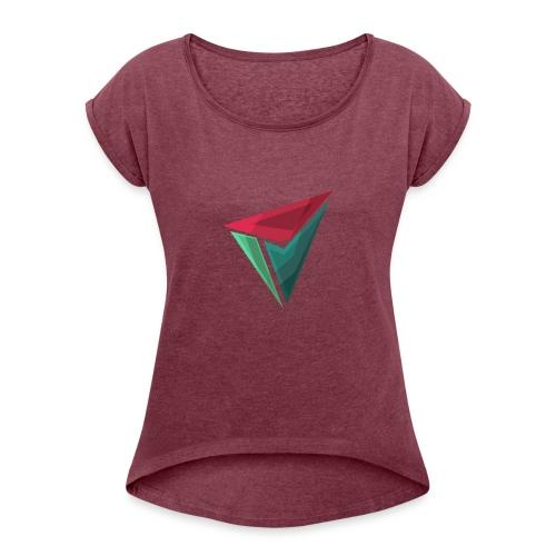 90gQopen T-Shirt   Logga Färg - T-shirt med upprullade ärmar dam