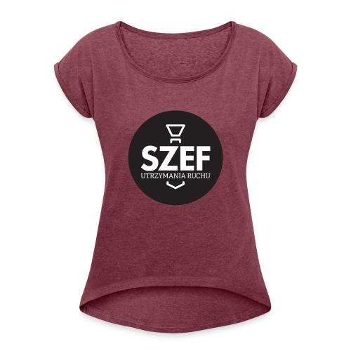 Logo-szef-utrzymania-ruchu_ok_net_black - Koszulka damska z lekko podwiniętymi rękawami