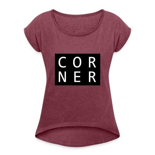 cornerbox - Dame T-shirt med rulleærmer