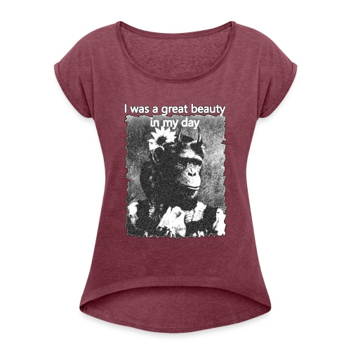 Funny Chimpanzee Old Age Joke Design - Women's T-Shirt with rolled up sleeves