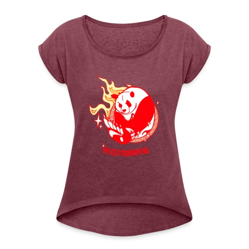 Oso Panda - Camiseta con manga enrollada mujer