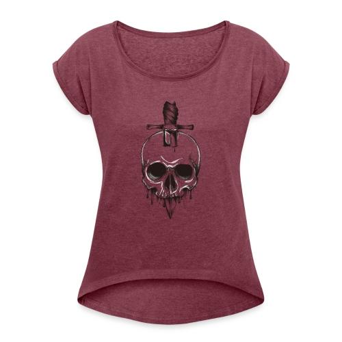 skull horor blood - T-shirt à manches retroussées Femme