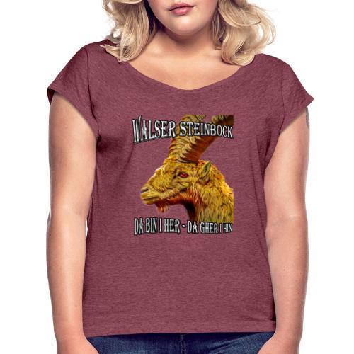 Walser Steinbock Portrait Design - Frauen T-Shirt mit gerollten Ärmeln