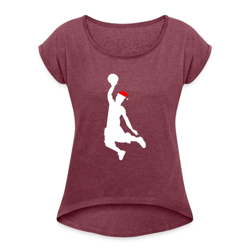 Basketball Player Silouette - Women's T-Shirt with rolled up sleeves