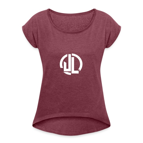 The White JL Logo - Women's T-Shirt with rolled up sleeves