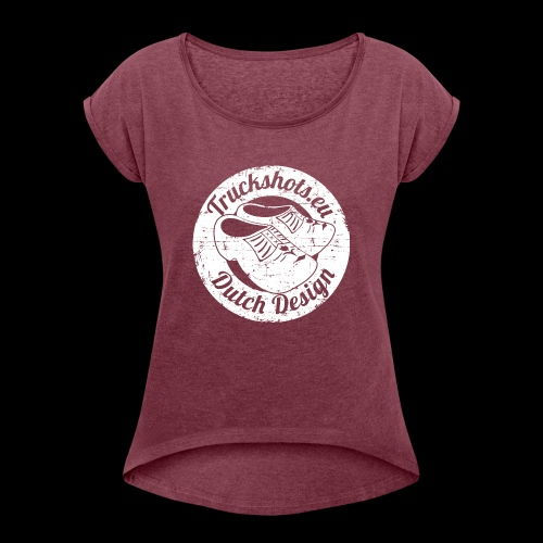 Stamp dutch design with clogs - Women's T-Shirt with rolled up sleeves