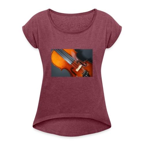 Violin - T-shirt med upprullade ärmar dam
