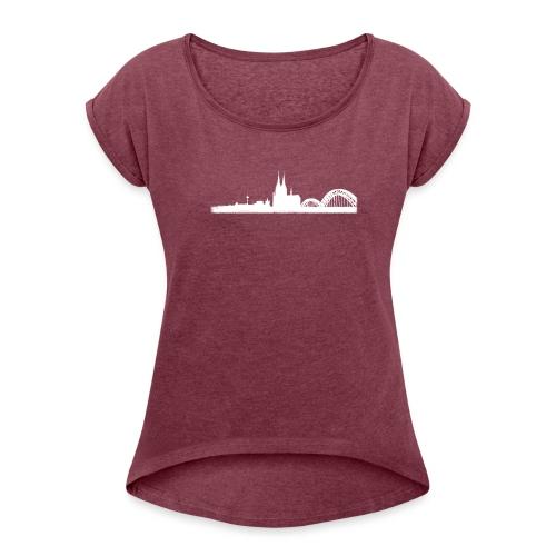 Köln-Skyline - Frauen T-Shirt mit gerollten Ärmeln
