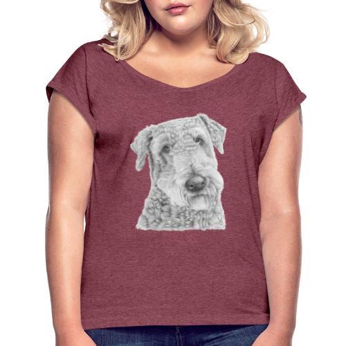 airedale terrier - Dame T-shirt med rulleærmer