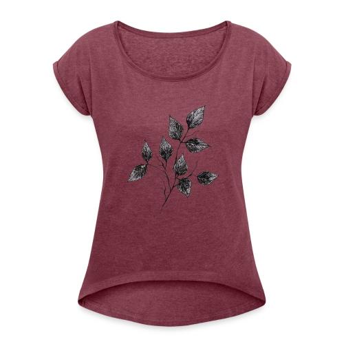 Leaves - Koszulka damska z lekko podwiniętymi rękawami