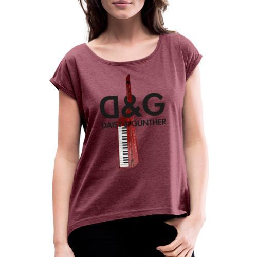 Met keytar-logo - Vrouwen T-shirt met opgerolde mouwen