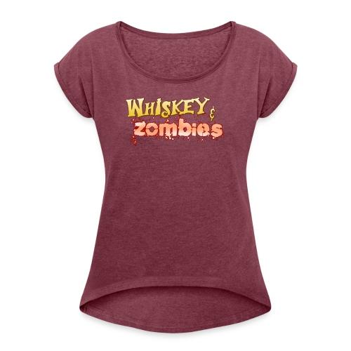 Whiskey Zombies Logo - T-shirt med upprullade ärmar dam