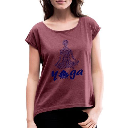 yoga fiore namaste pace amore hippie arte fitness - Maglietta da donna con risvolti