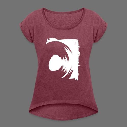 wirowania (biały) - Koszulka damska z lekko podwiniętymi rękawami