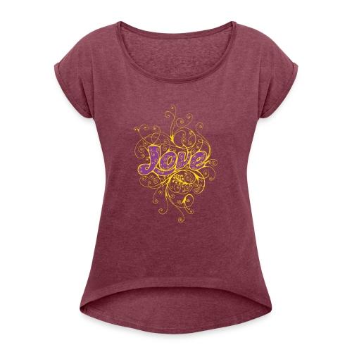 LOVE VIOLA CON DECORI - Maglietta da donna con risvolti