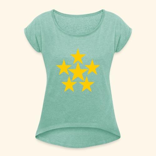 5 STERN gelb - Frauen T-Shirt mit gerollten Ärmeln