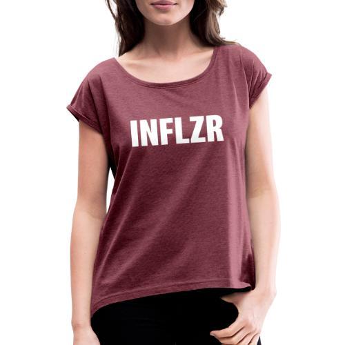 INFLZR white - Frauen T-Shirt mit gerollten Ärmeln