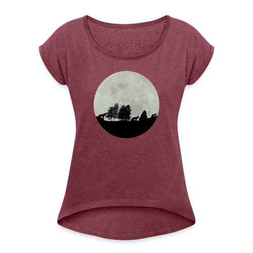 moon wolf - T-shirt à manches retroussées Femme