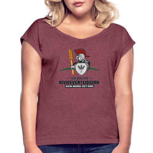 Revierverteidigerin rot - Frauen T-Shirt mit gerollten Ärmeln