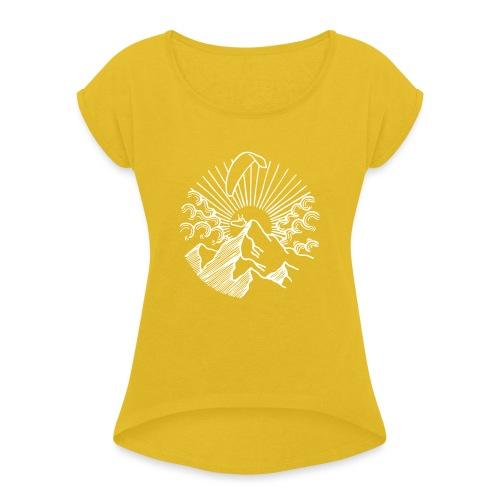 Paraglider Mountain Sunrise - Frauen T-Shirt mit gerollten Ärmeln