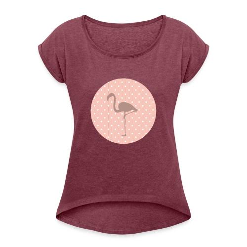 flamant rose - T-shirt à manches retroussées Femme