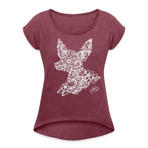 Mandalakoira Tiny White - Naisten T-paita, jossa rullatut hihat