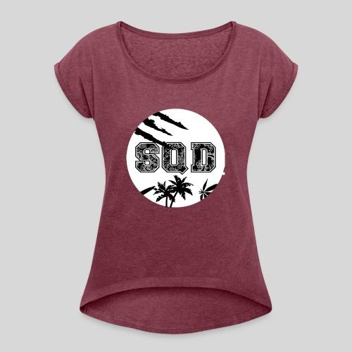 SQD tshirt logo wit - Vrouwen T-shirt met opgerolde mouwen