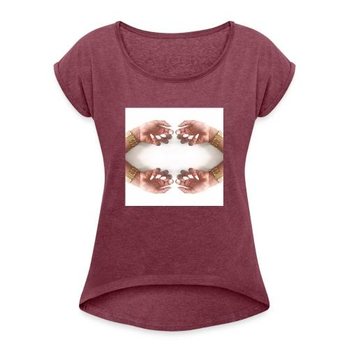 T-shirt - T-shirt med upprullade ärmar dam