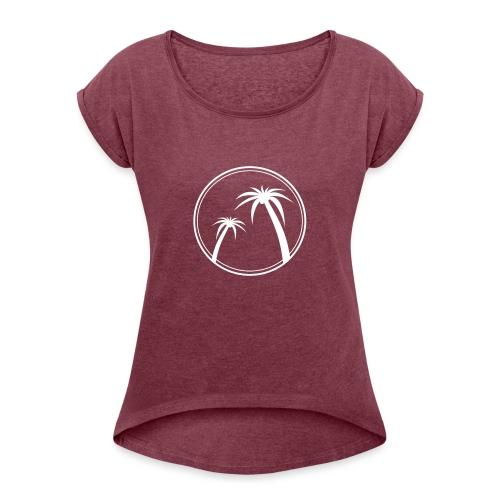 Palm Slabbetje - Vrouwen T-shirt met opgerolde mouwen