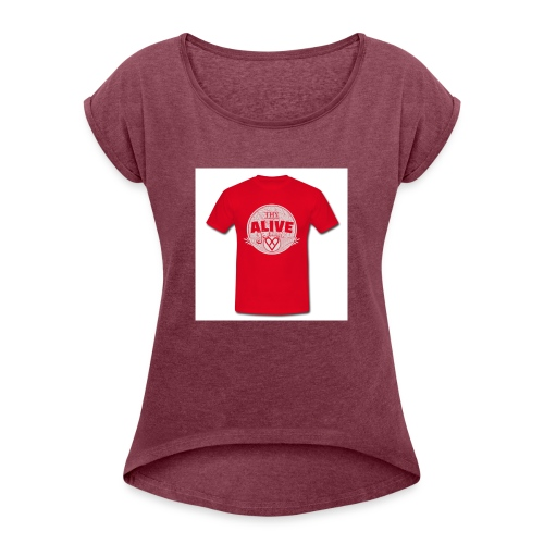 Herre-T-shirt - Dame T-shirt med rulleærmer
