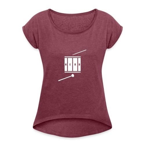 Nerd_Logo White - Dame T-shirt med rulleærmer