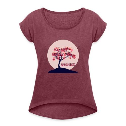 CR - Sakura - Camiseta con manga enrollada mujer