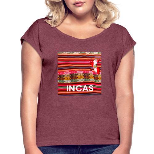 Telar inka Mapa del Peru - Frauen T-Shirt mit gerollten Ärmeln