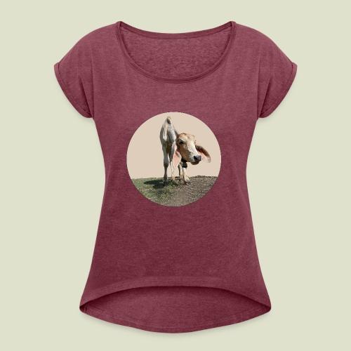 Kuh braun - Frauen T-Shirt mit gerollten Ärmeln