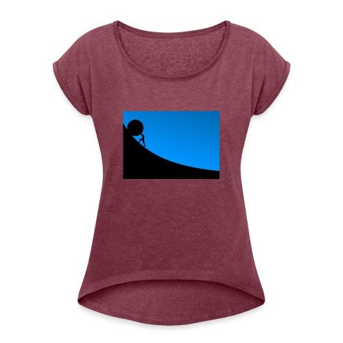 Überwindung - Frauen T-Shirt mit gerollten Ärmeln