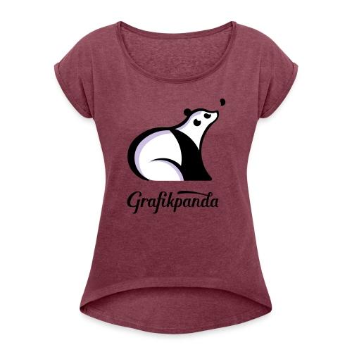 Grafikpanda - Frauen T-Shirt mit gerollten Ärmeln