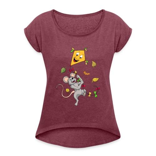 Maus mit Drachen im Herbst - Frauen T-Shirt mit gerollten Ärmeln
